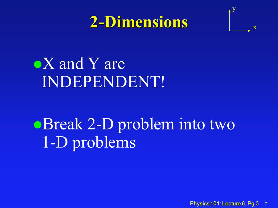 Break 2-D problem into two 1-D problems