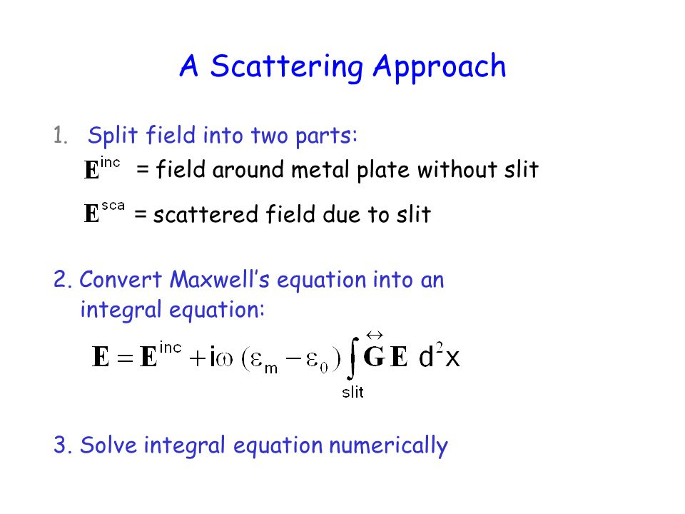 A Scattering Approach = field around metal plate without slit