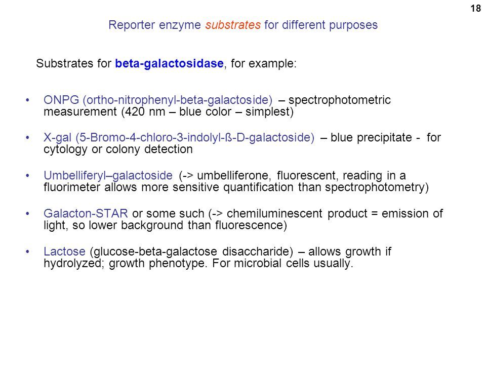 Reporter enzyme substrates for different purposes