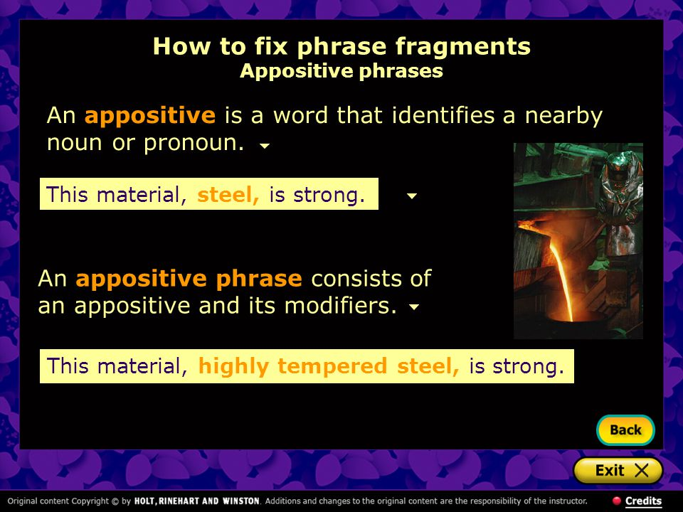 How to fix phrase fragments Appositive phrases