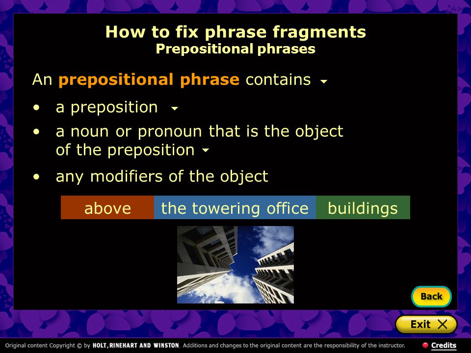 How to fix phrase fragments Prepositional phrases