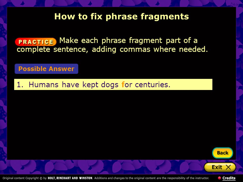 How to fix phrase fragments