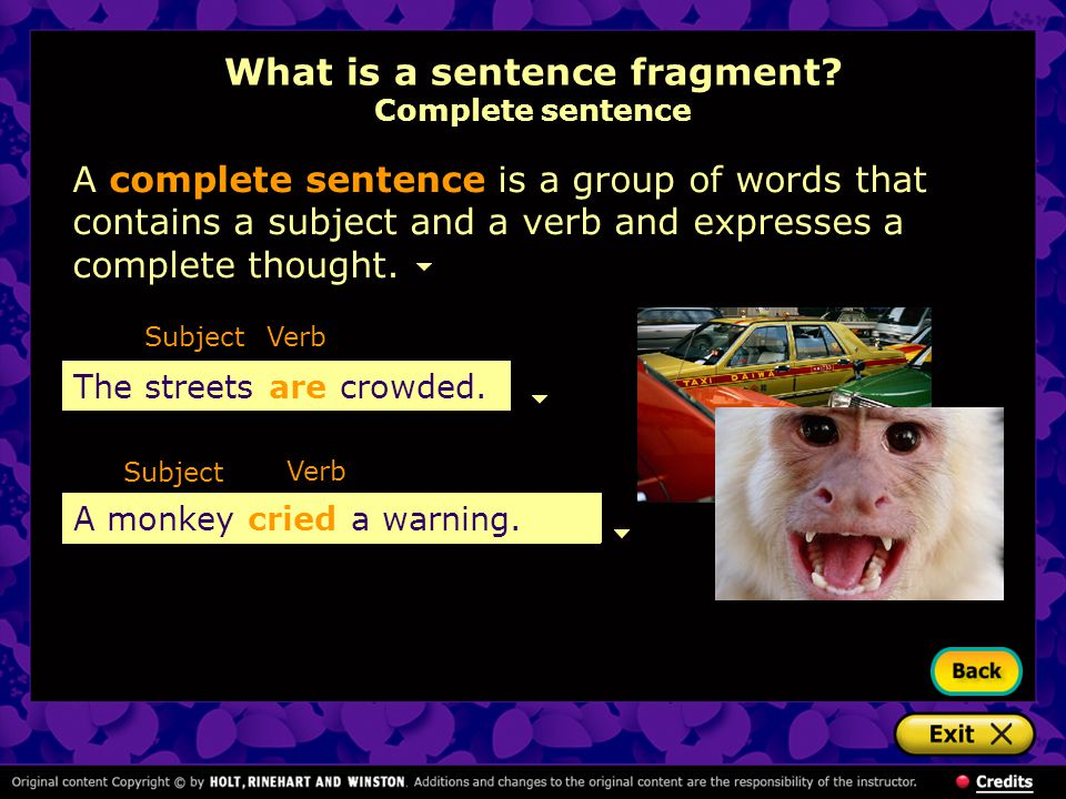 What is a sentence fragment Complete sentence