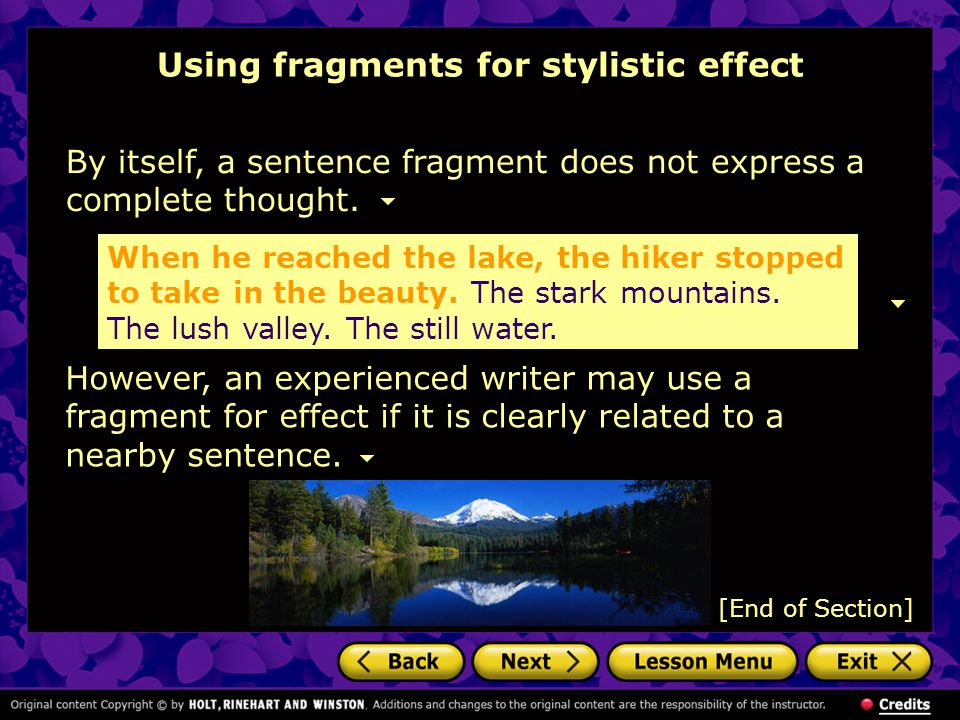 Using fragments for stylistic effect
