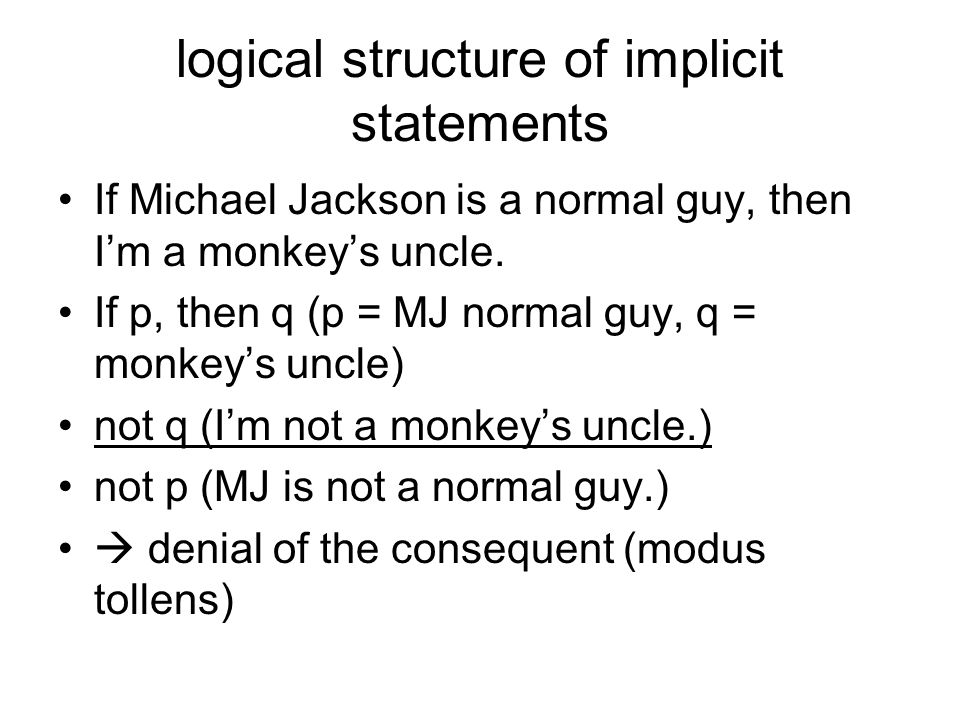 logical structure of implicit statements