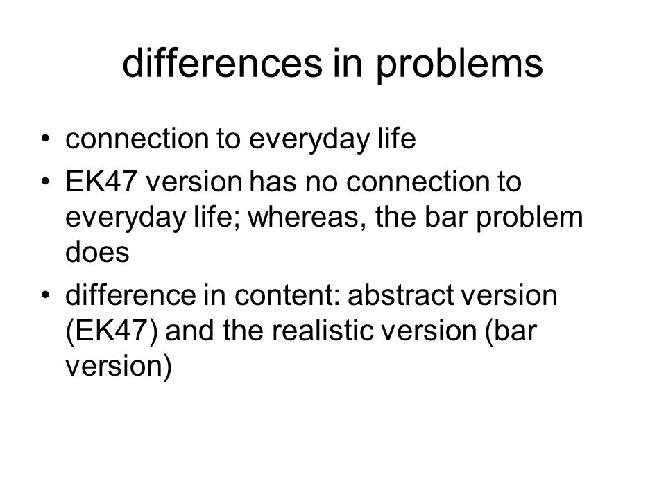 differences in problems