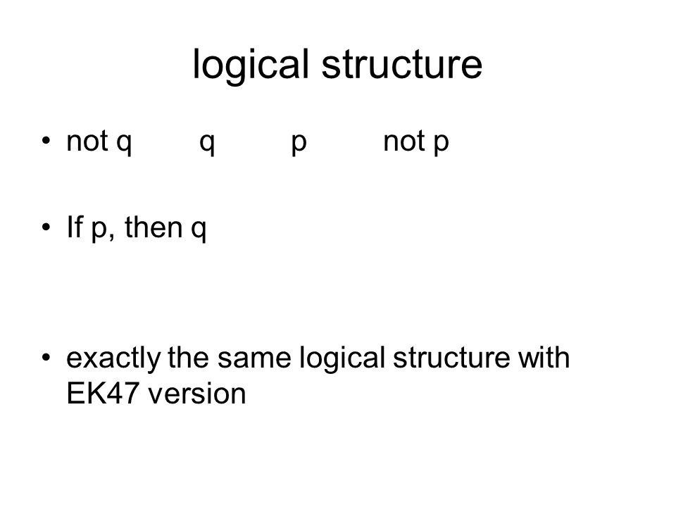 logical structure not q q p not p If p, then q