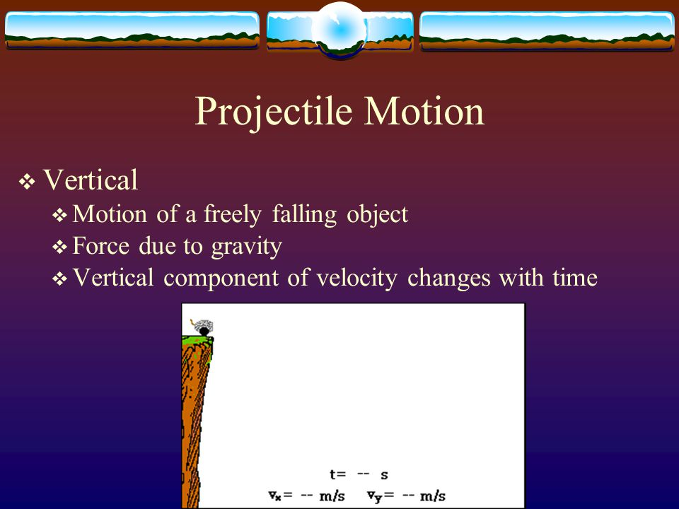 Projectile Motion Vertical Motion of a freely falling object