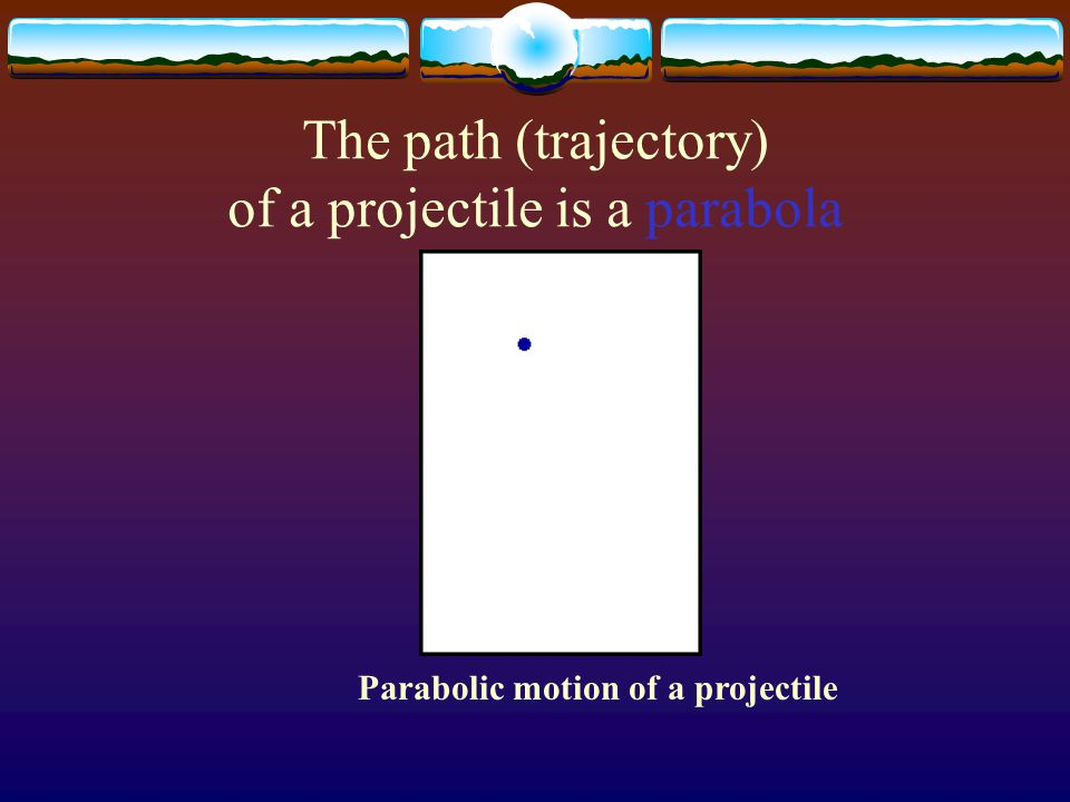 The path (trajectory) of a projectile is a parabola