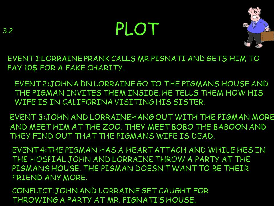 PLOT 3.2. EVENT 1:LORRAINE PRANK CALLS MR.PIGNATI AND GETS HIM TO PAY 10$ FOR A FAKE CHARITY.