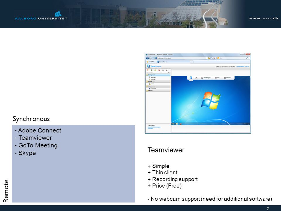 Synchronous Teamviewer Remote Adobe Connect Teamviewer GoTo Meeting