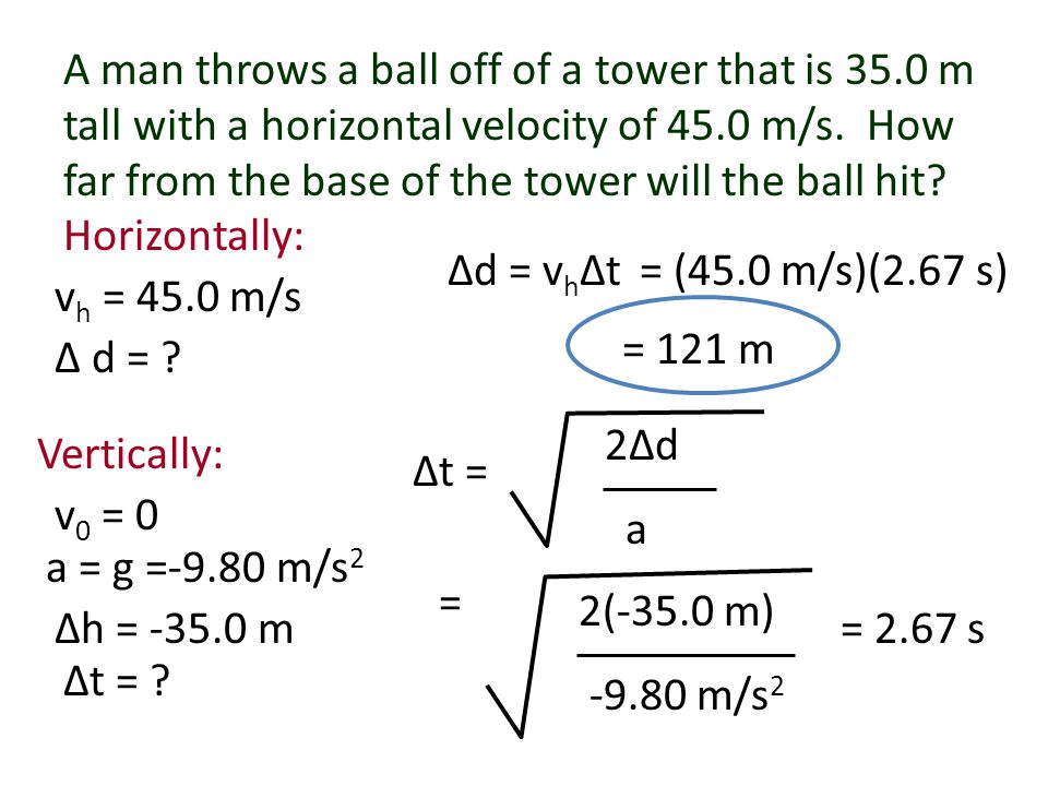 A man throws a ball off of a tower that is 35