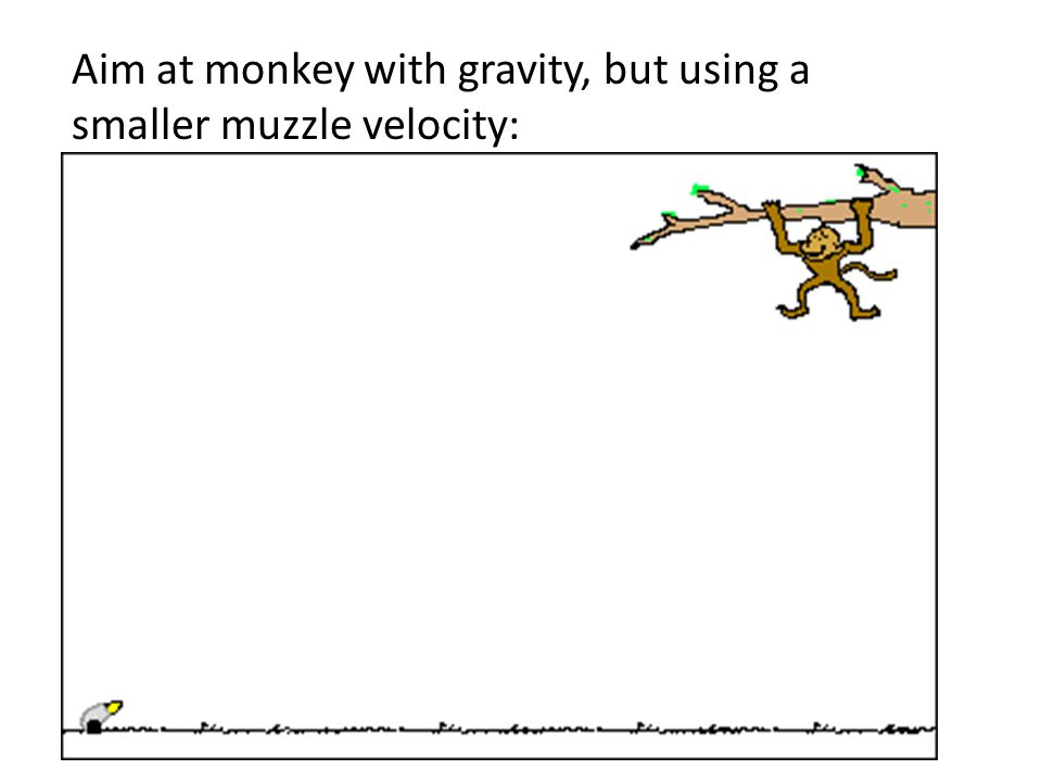 Aim at monkey with gravity, but using a smaller muzzle velocity: