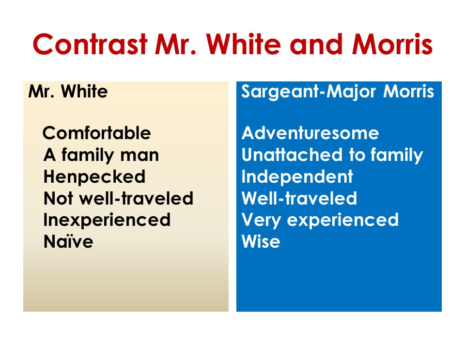 Contrast Mr. White and Morris