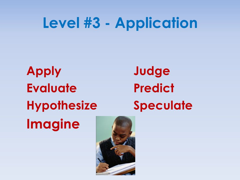 Level #3 - Application Imagine Apply Evaluate Hypothesize Judge