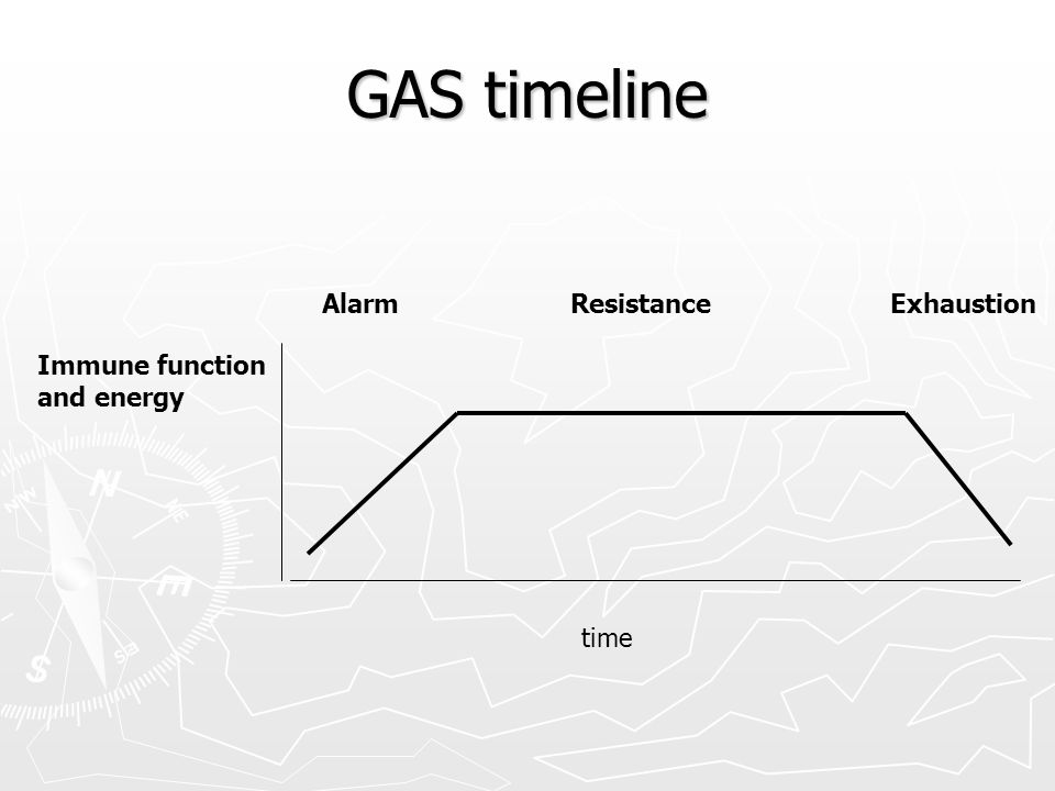 GAS timeline Alarm Resistance Exhaustion Immune function and energy