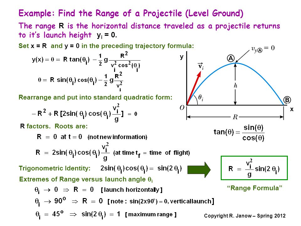 Example: Find the Range of a Projectile (Level Ground)