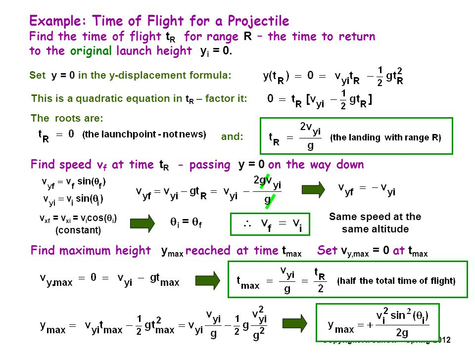 Example: Time of Flight for a Projectile