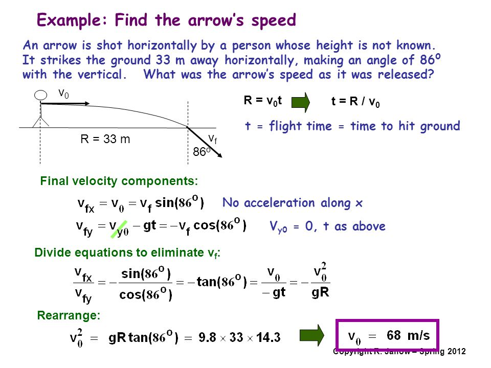 Example: Find the arrow's speed