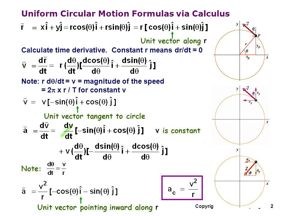 Uniform Circular Motion Formulas via Calculus