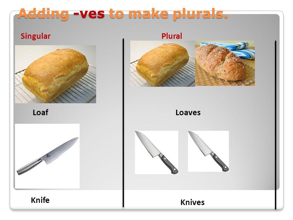 Adding -ves to make plurals.