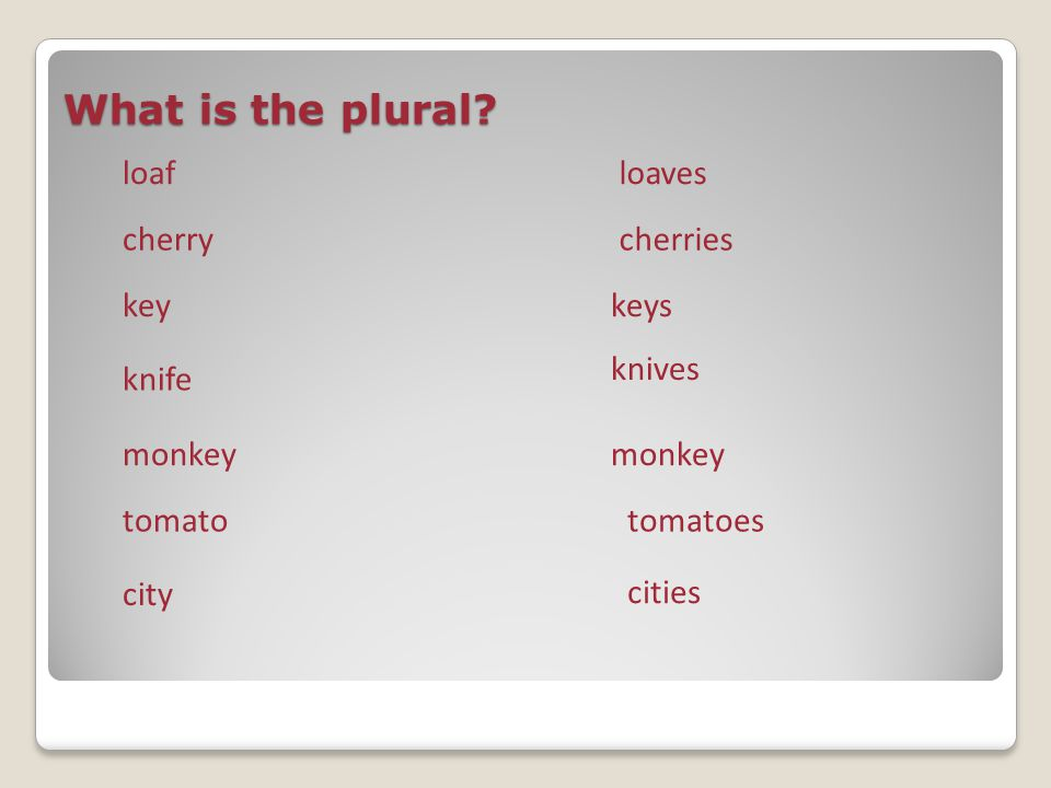 What is the plural loaf loaves cherry cherries key keys knives knife