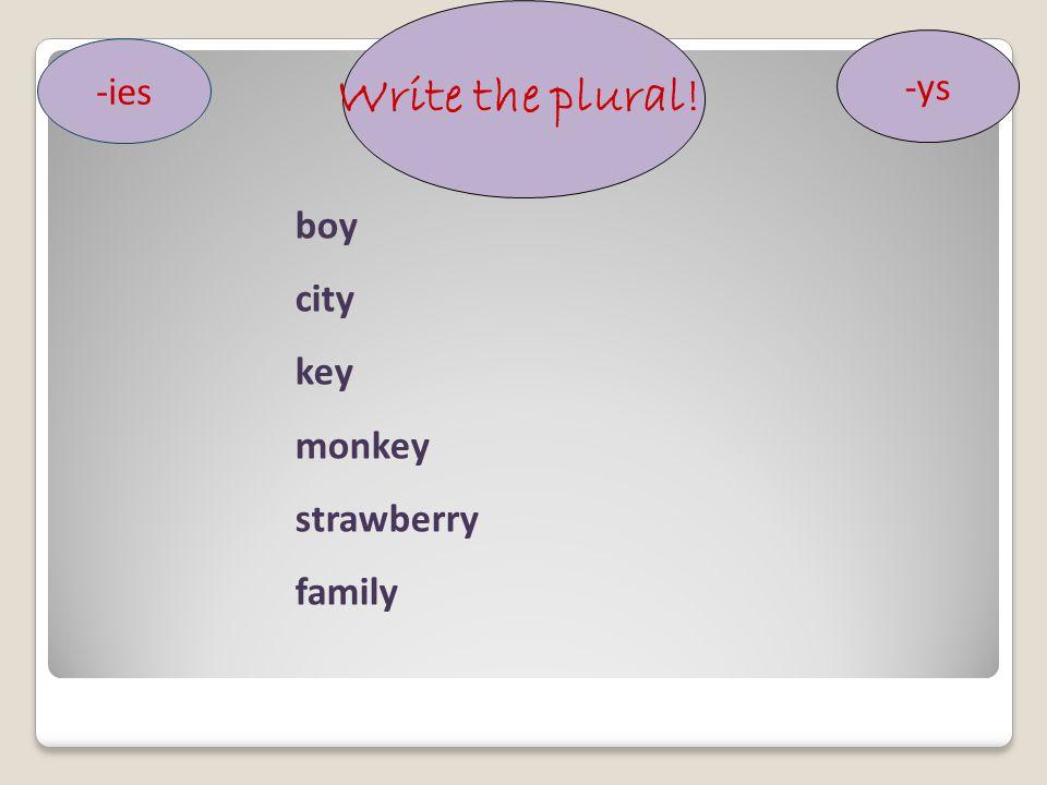 Write the plural! -ys -ies boy city key monkey strawberry family
