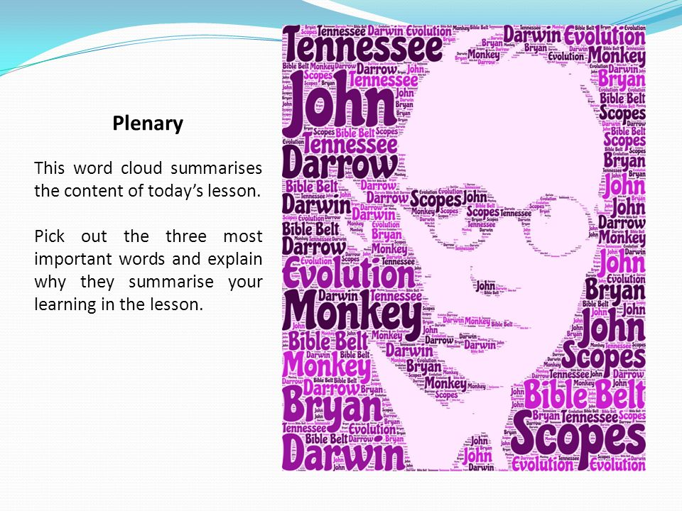 Plenary This word cloud summarises the content of today's lesson.