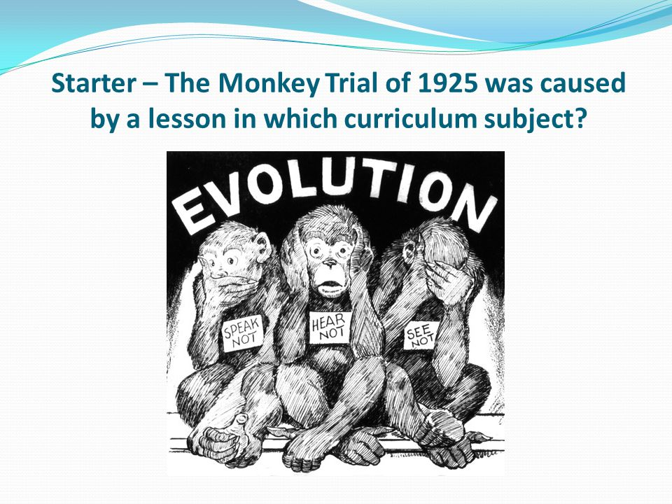 Starter – The Monkey Trial of 1925 was caused by a lesson in which curriculum subject