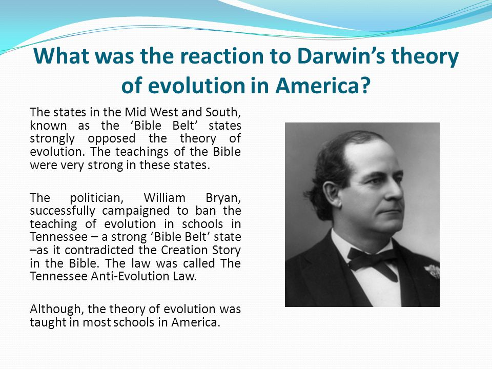 What was the reaction to Darwin's theory of evolution in America