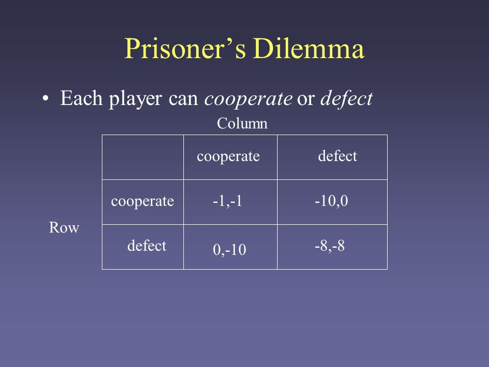 Prisoner's Dilemma Each player can cooperate or defect Column