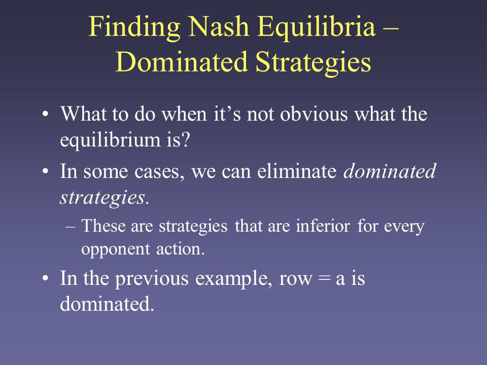 Finding Nash Equilibria – Dominated Strategies