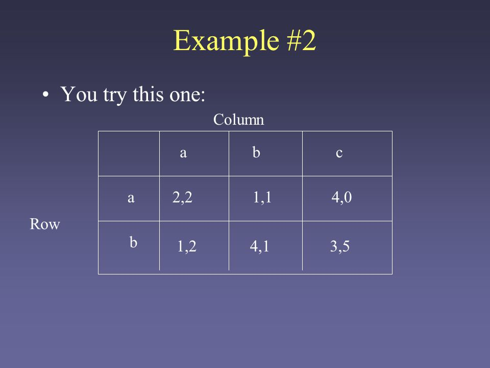 Example #2 You try this one: Column a b c a 2,2 1,1 4,0 Row b 1,2 4,1