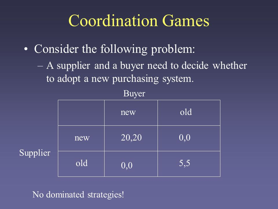Coordination Games Consider the following problem:
