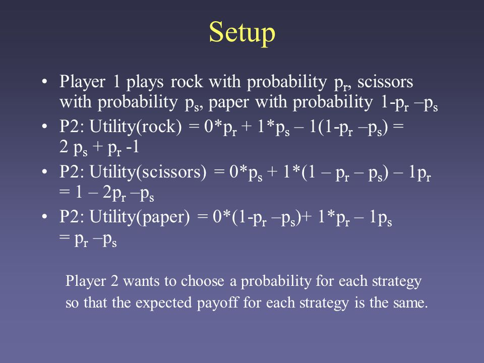 Setup Player 1 plays rock with probability pr, scissors with probability ps, paper with probability 1-pr –ps.