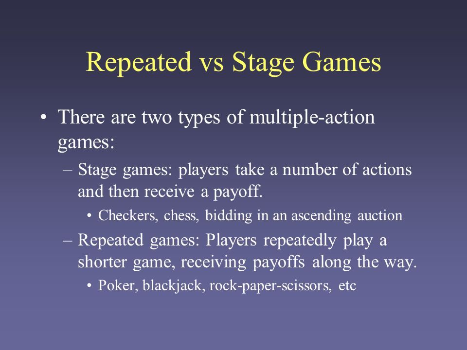 Repeated vs Stage Games