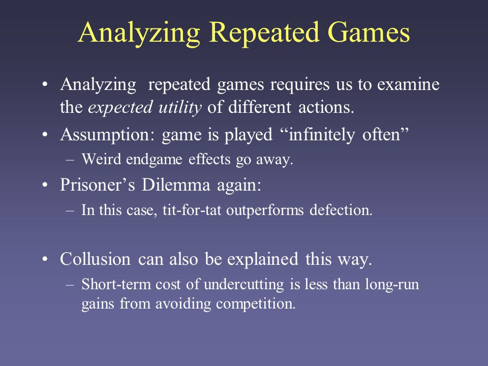 Analyzing Repeated Games