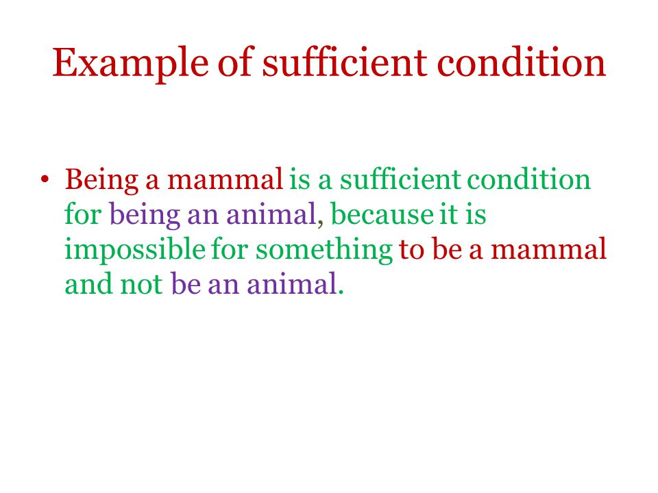 Example of sufficient condition