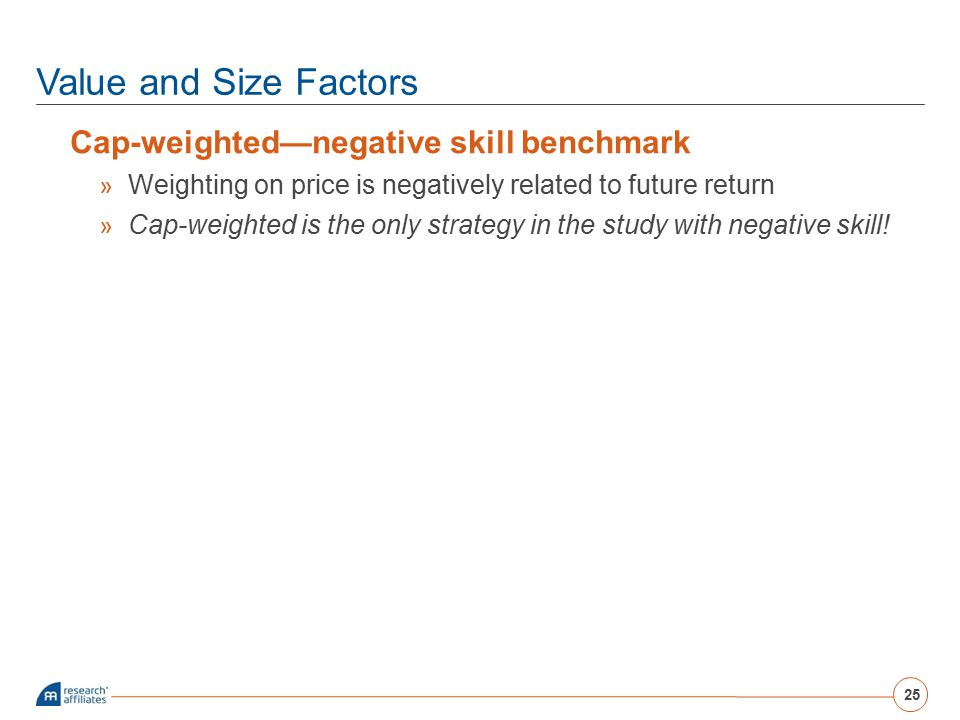 Value and Size Factors Cap-weighted—negative skill benchmark