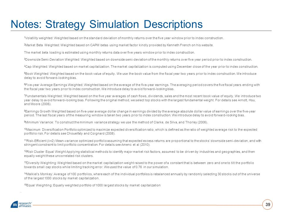 Notes: Strategy Simulation Descriptions