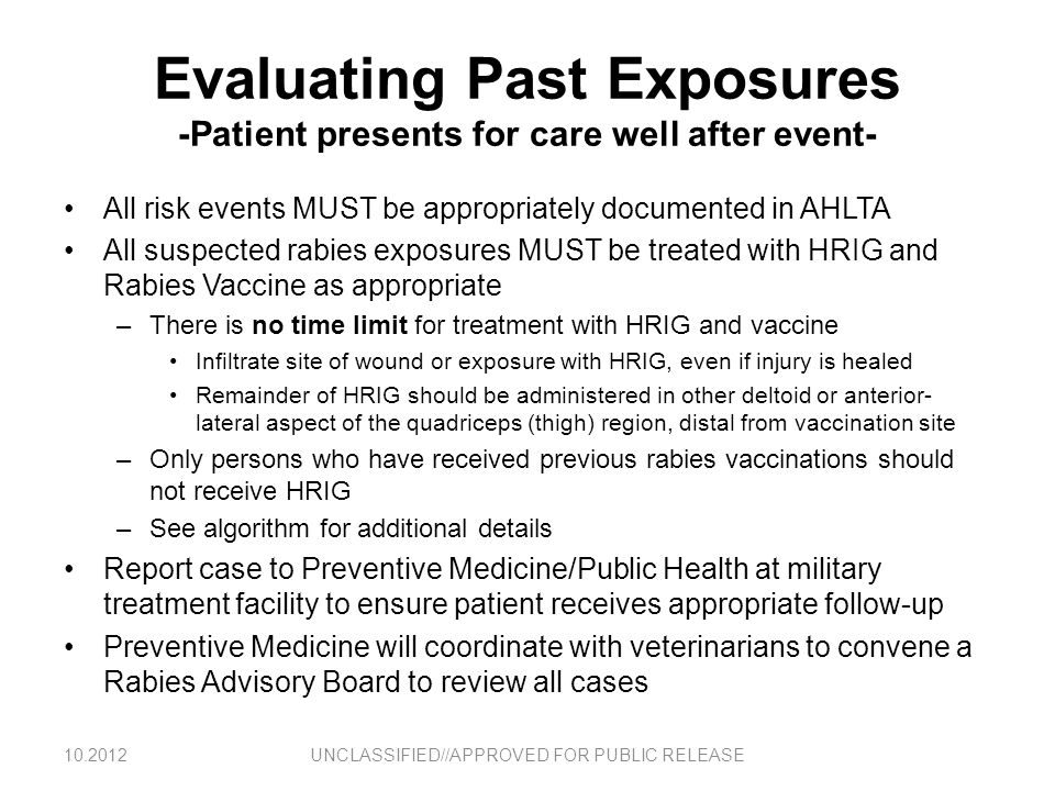 Evaluating Past Exposures -Patient presents for care well after event-