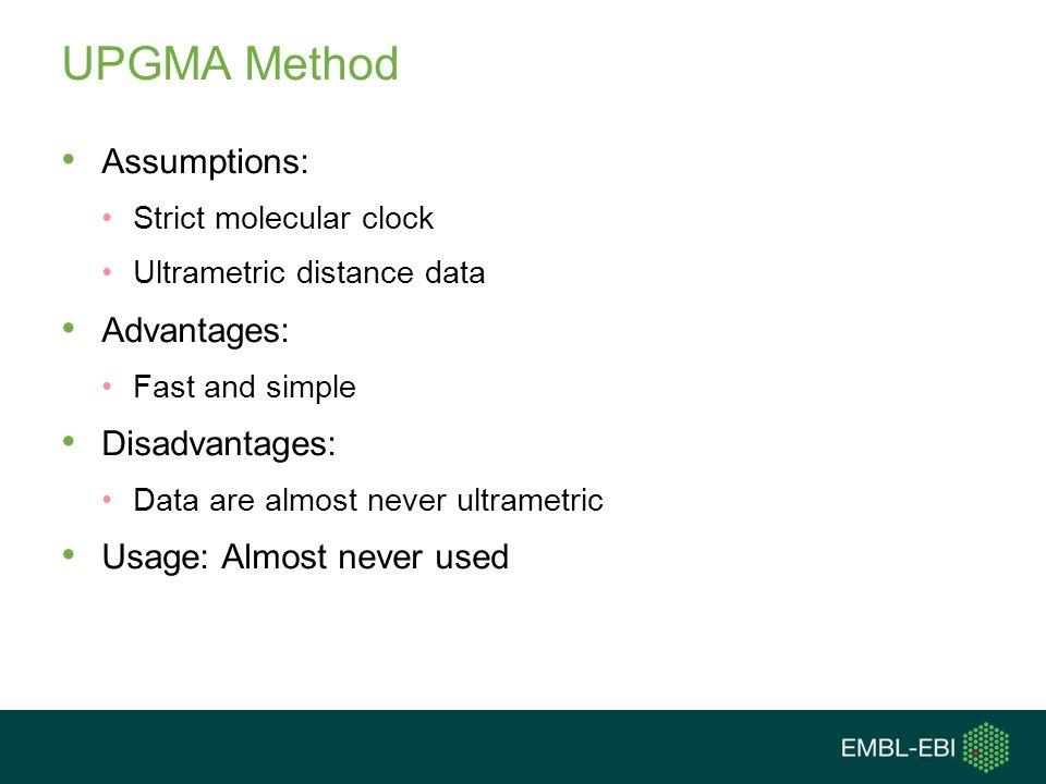UPGMA Method Assumptions: Advantages: Disadvantages: