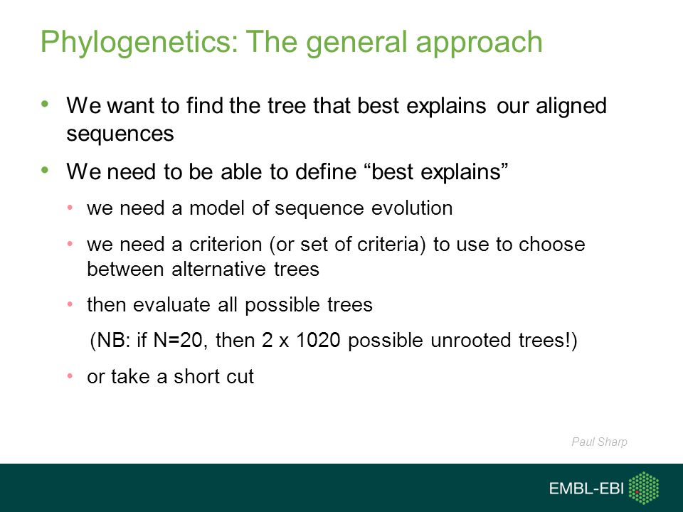 Phylogenetics: The general approach