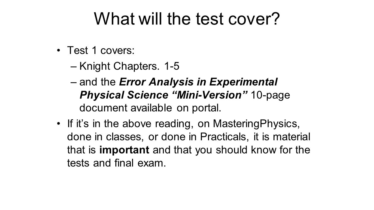 What will the test cover