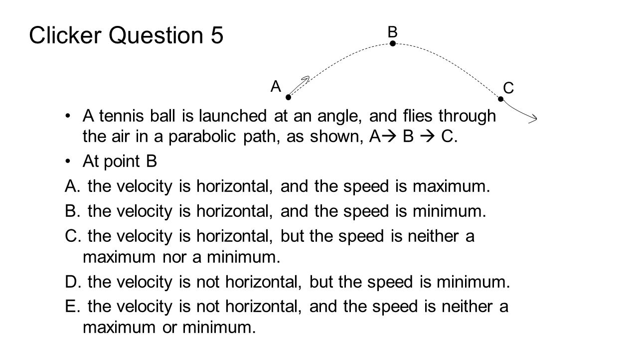Clicker Question 5 B. A. C. A tennis ball is launched at an angle, and flies through the air in a parabolic path, as shown, A B  C.
