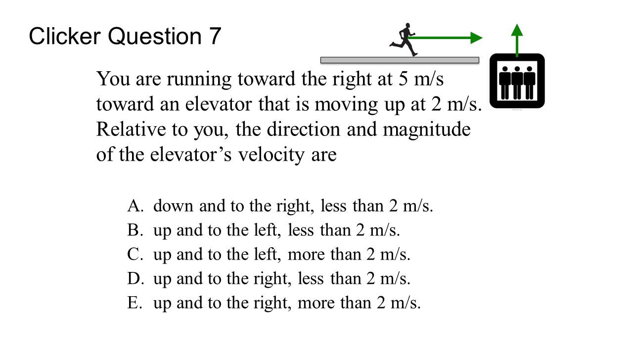 You are running toward the right at 5 m/s toward an elevator that is moving up at 2 m/s. Relative to you, the direction and magnitude of the elevator's velocity are