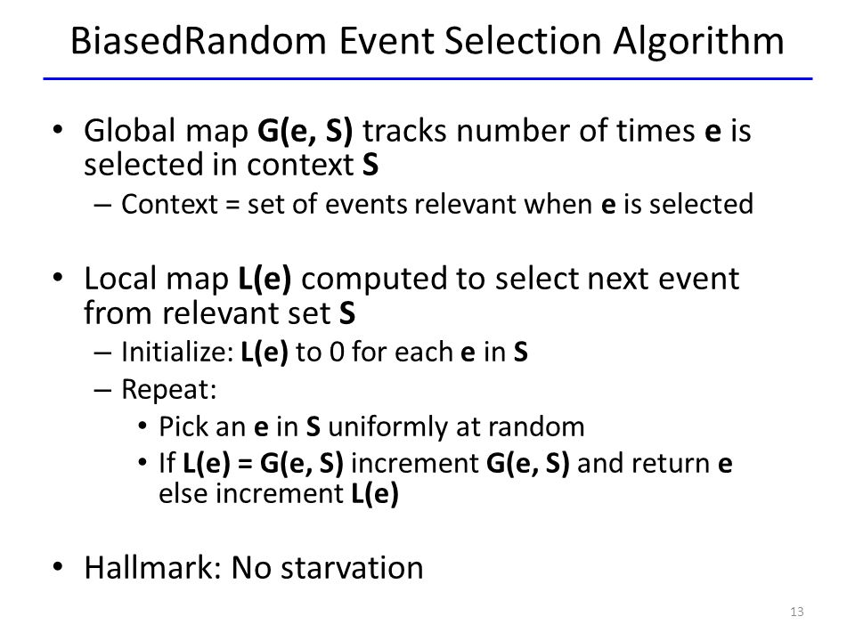 BiasedRandom Event Selection Algorithm