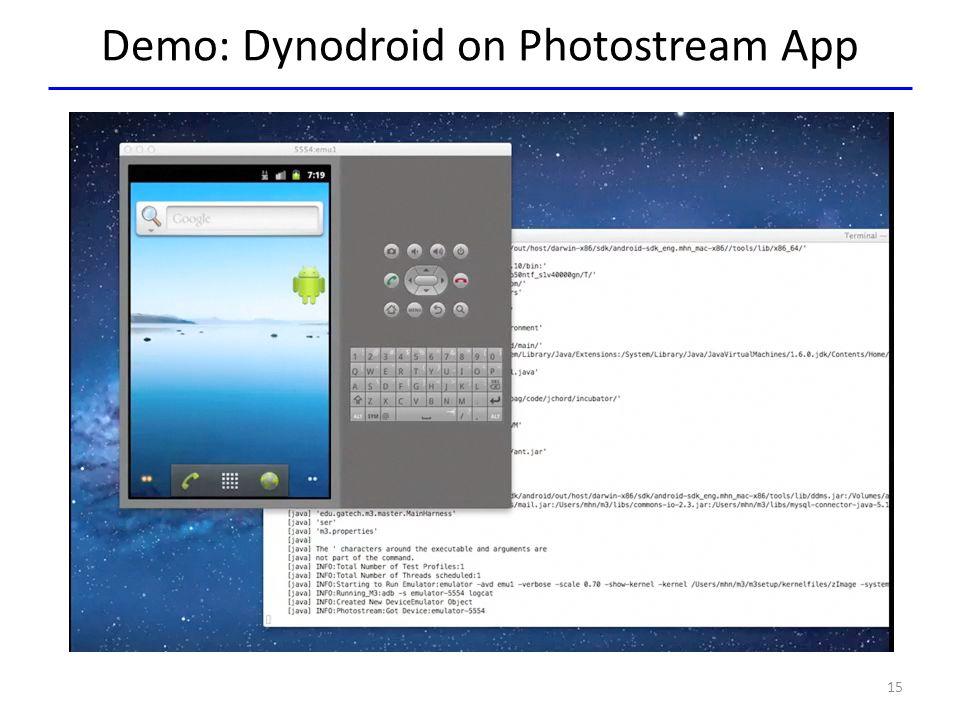 Demo: Dynodroid on Photostream App