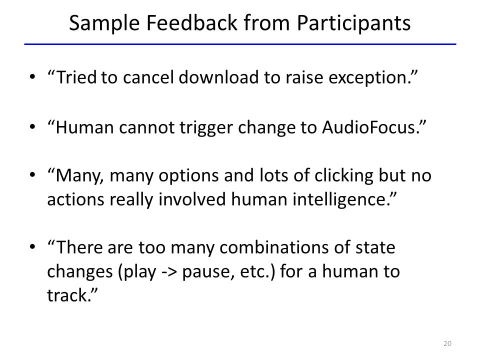 Sample Feedback from Participants