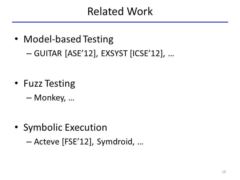 Related Work Model-based Testing Fuzz Testing Symbolic Execution